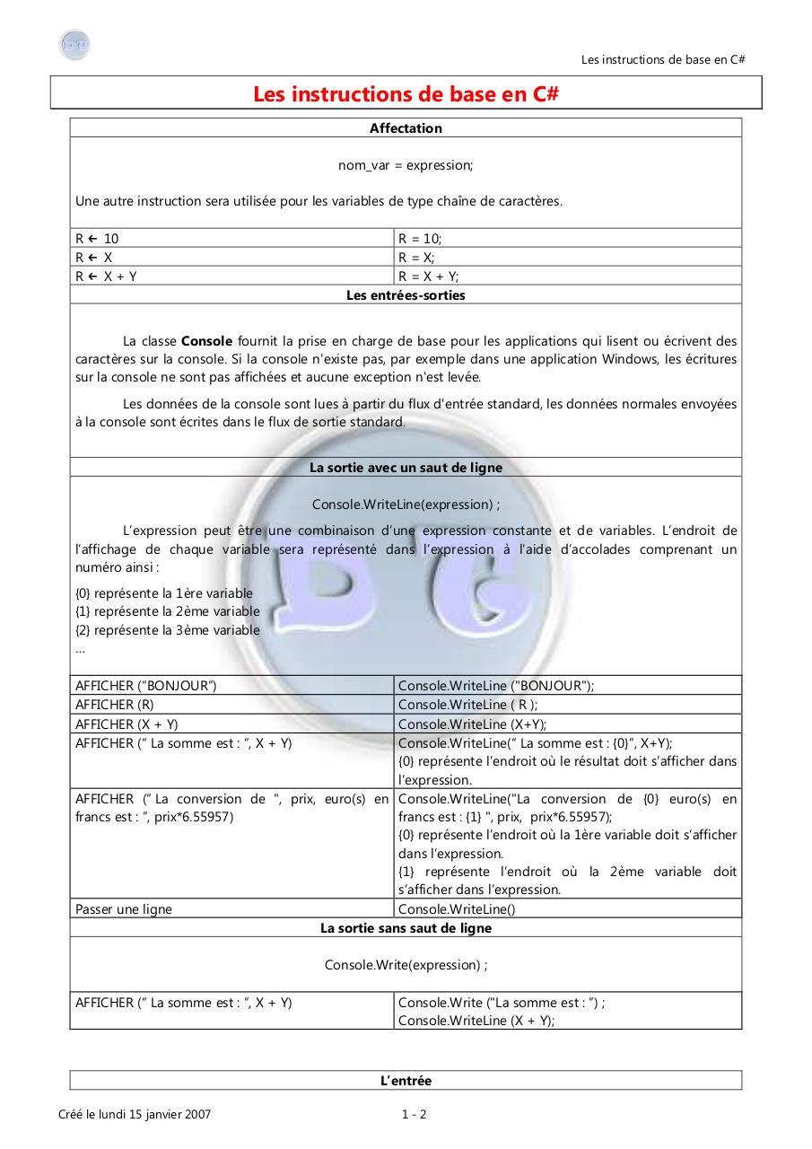 Aperçu du document Fiche_4_Les_instructions_de_base_en_CSharp.pdf - page 1/2