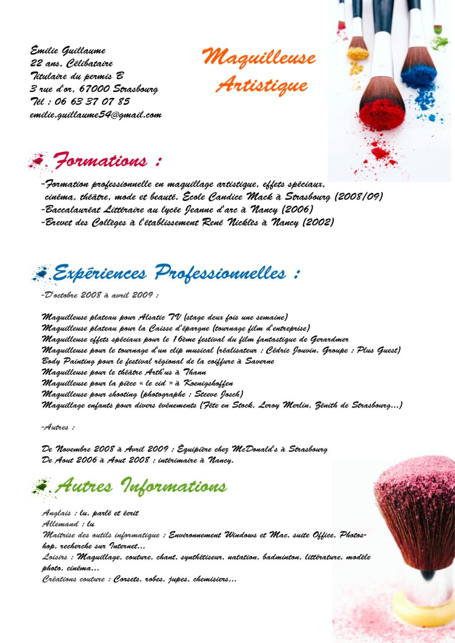 cv emilie guillaume maquilleuse artisitique  cv emilie guillaume maquilleuse artisitique pdf