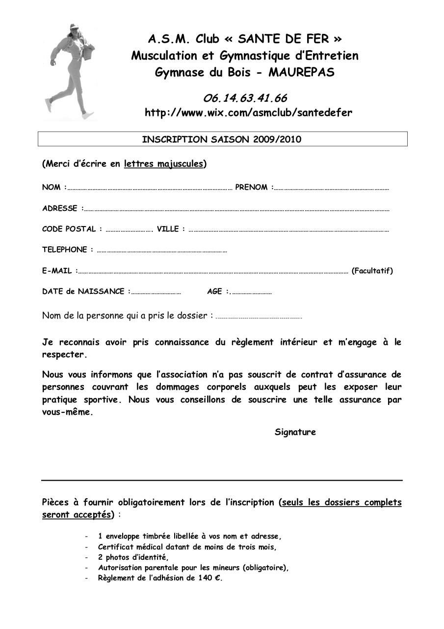 Inscription par sagane fichier pdf for Reglement interieur association sportive