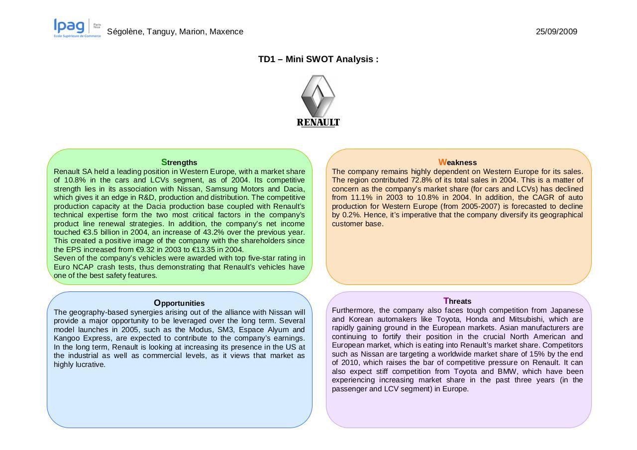 Analyse swot de renault nissan #1