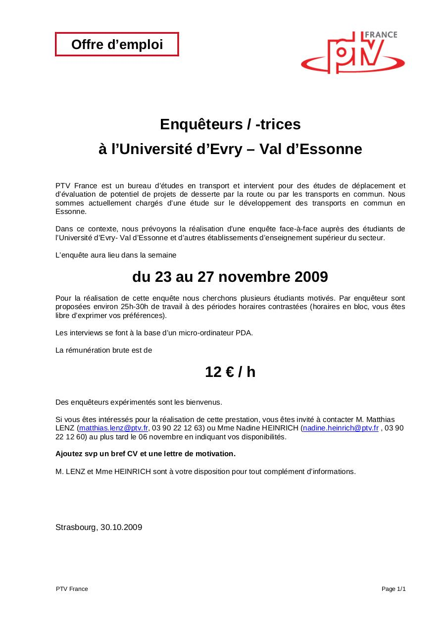 091030 Offre Travail Etudiant Essonne Par Mlenz Fichier Pdf