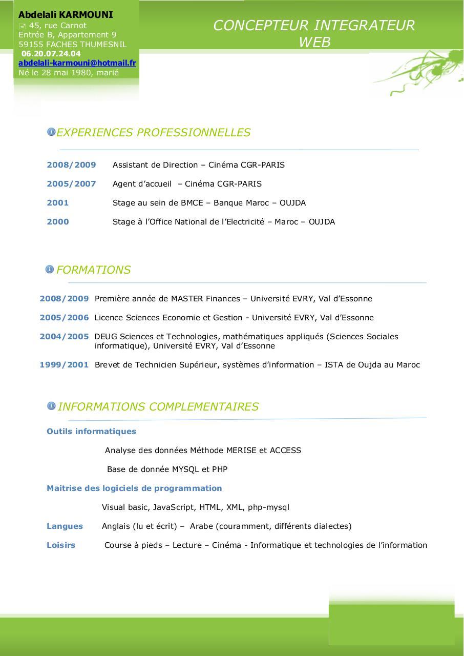 cv karmouni abdelali pdf par free cv - fichier pdf  1