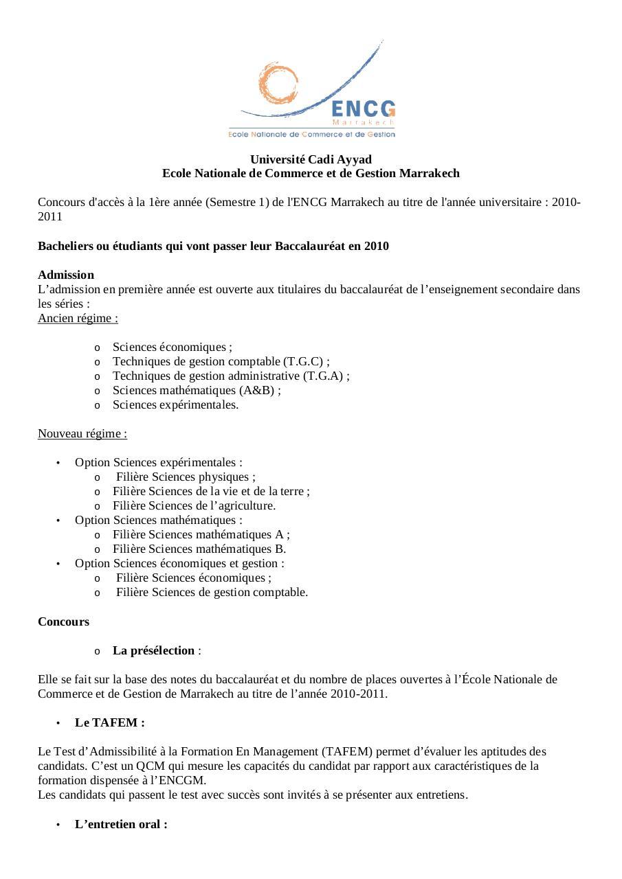 PDF TÉLÉCHARGER TAFEM ENCG 2014