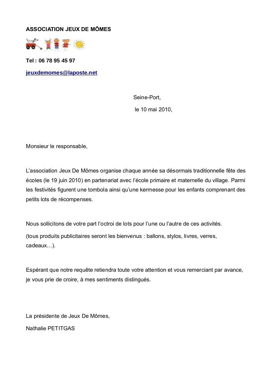 modele lettre demande de don association Exemple De Lettre De Remerciement Pour Des Lots | Covering Letter  modele lettre demande de don association