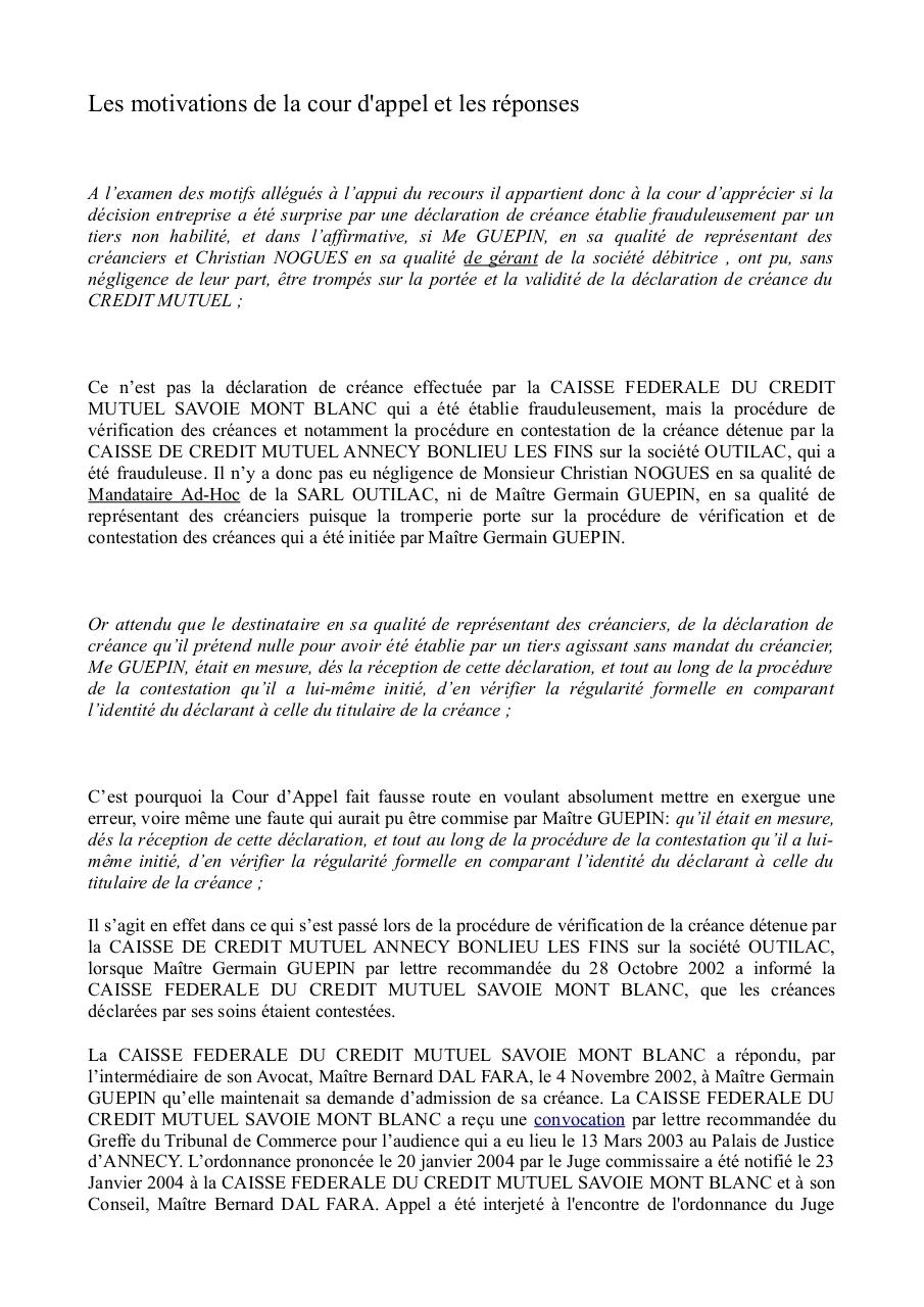 Aperçu du document MOTIVATIONS ET REPONSES COUR APPEL CHAMBERY.pdf - page 1/5