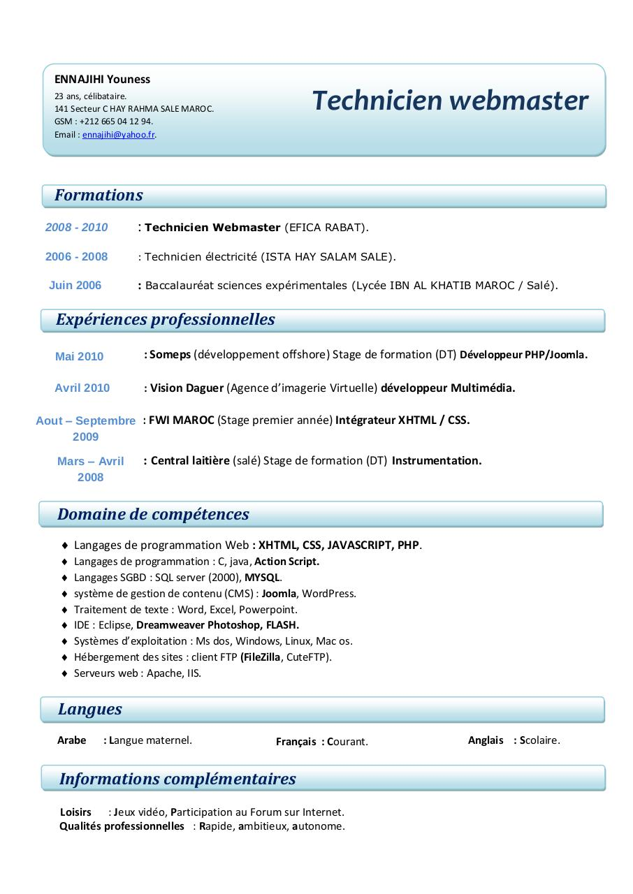 fichier pdf kawtar el rhirhayi par pc02 - cv   lettre de motivation  pdf  2