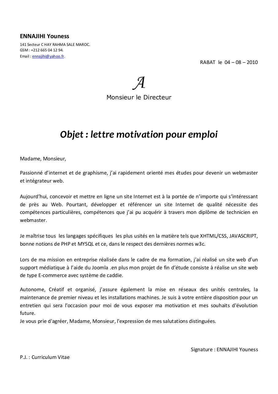 exemple de lettre de motivation webmaster