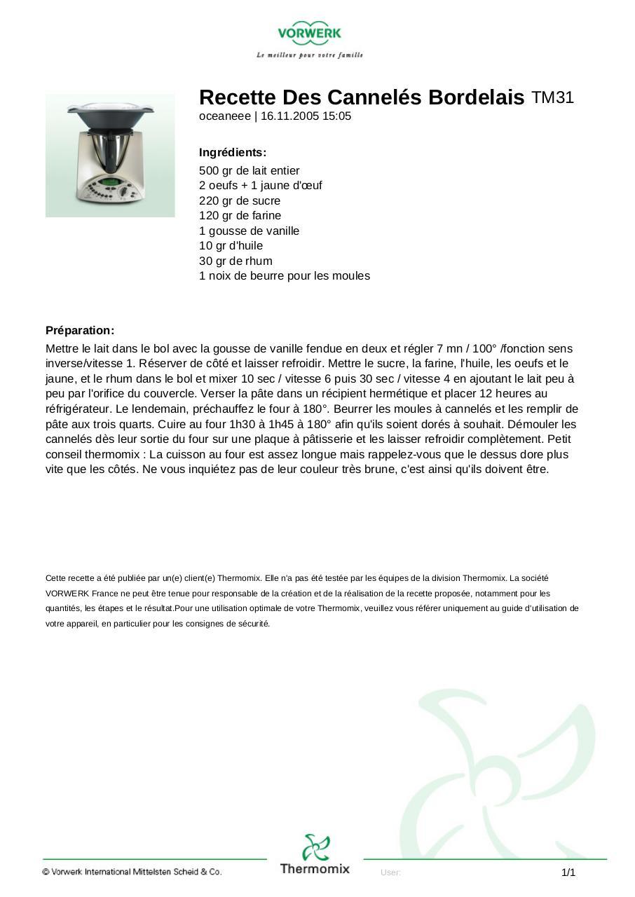Recette des cannel s bordelais recette des cannel s fichier pdf - Telecharger recette de cuisine algerienne pdf ...