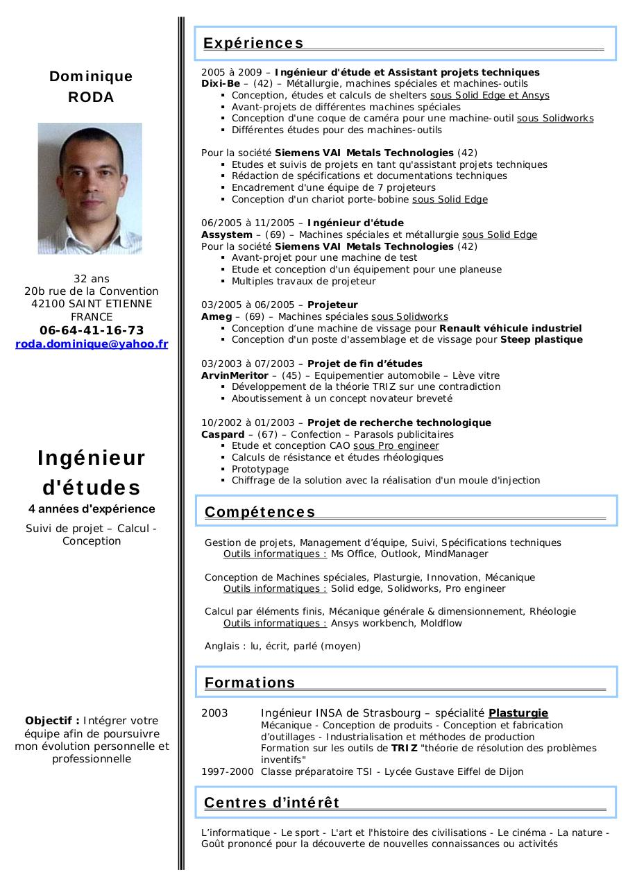 cv roda dominique doc par domino - cv roda dominique pdf