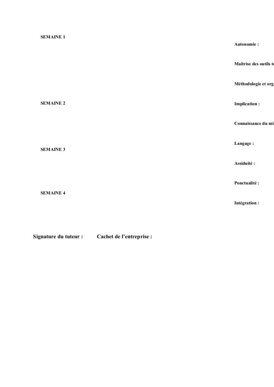 el u00e9ments rapport de stage cv