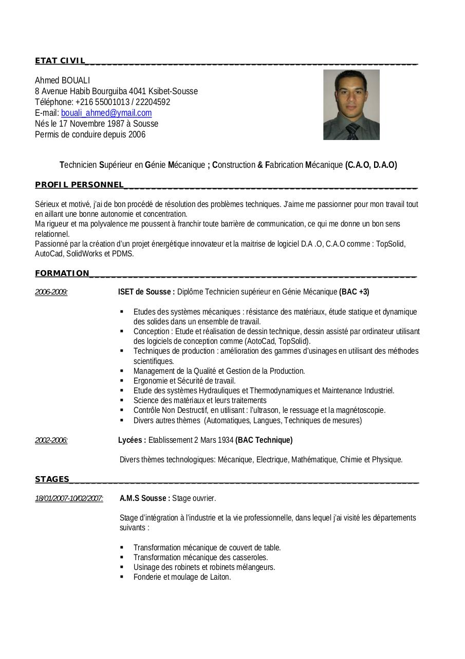 cv technicien de maintenance industrielle
