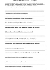 questionnaire avant adoption