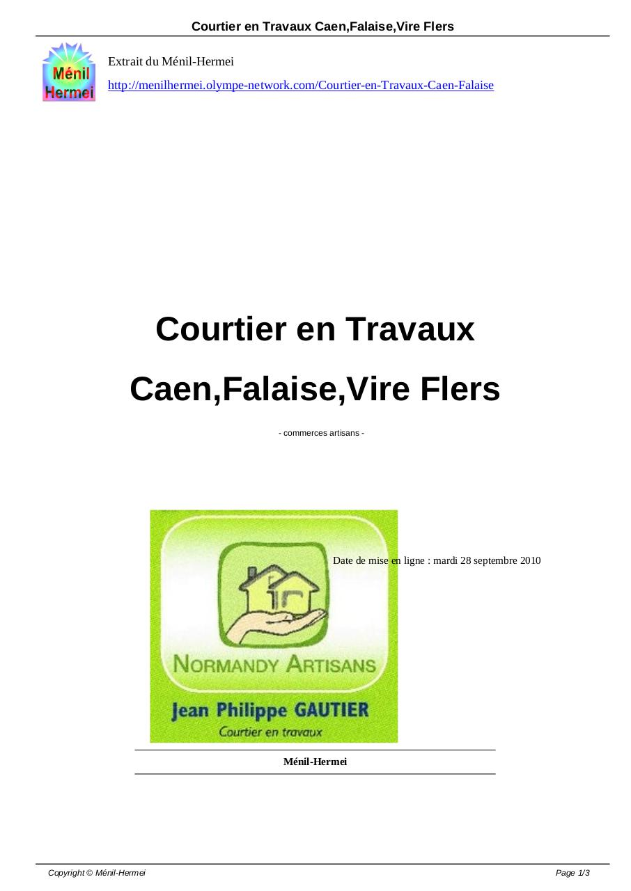 courtier en travaux caen falaise vire flers courtier en travaux pdf fichier pdf. Black Bedroom Furniture Sets. Home Design Ideas