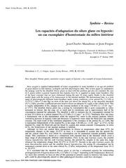 adaptation du silure en milieu hypoxie