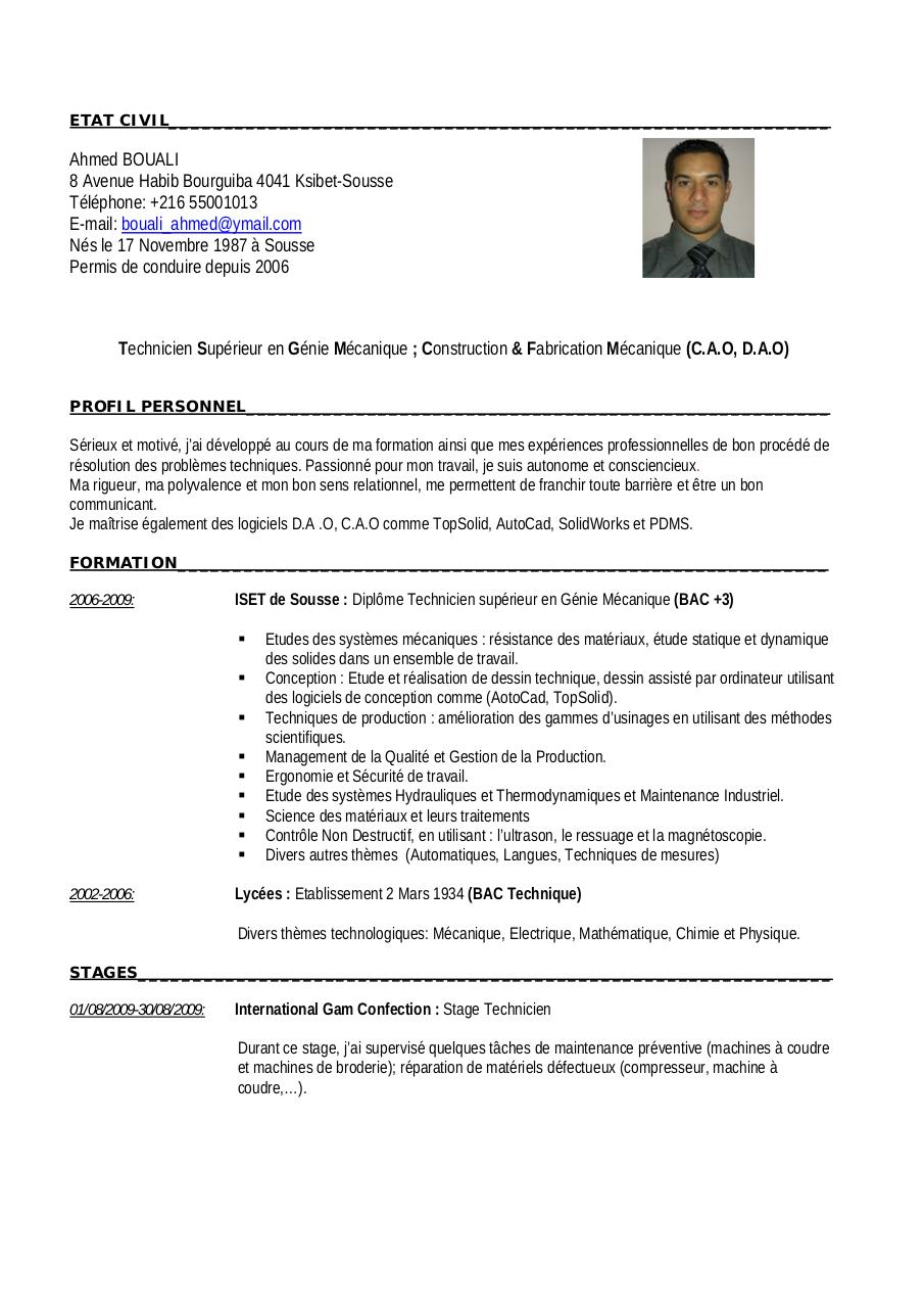 exemple de cv en anglais ingenieur chimiste document