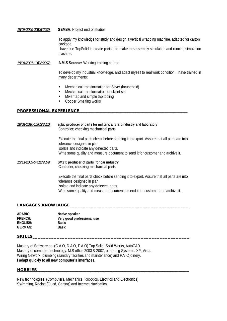 high level technician in mechanical engineering