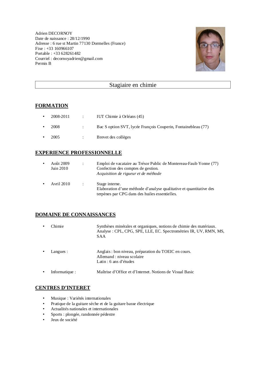 exemple cv vacataire