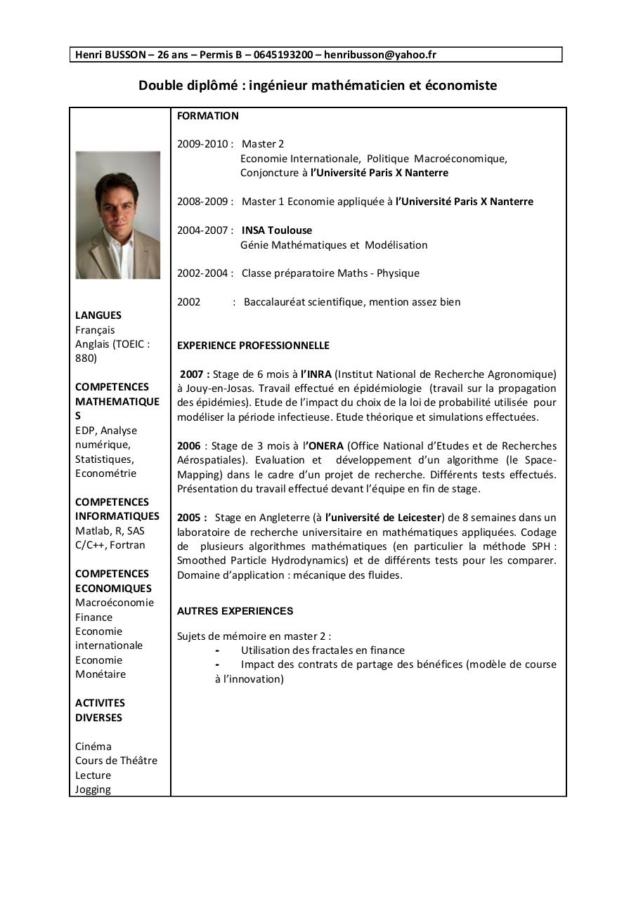 resume format  pr u00e9sentation cv finance