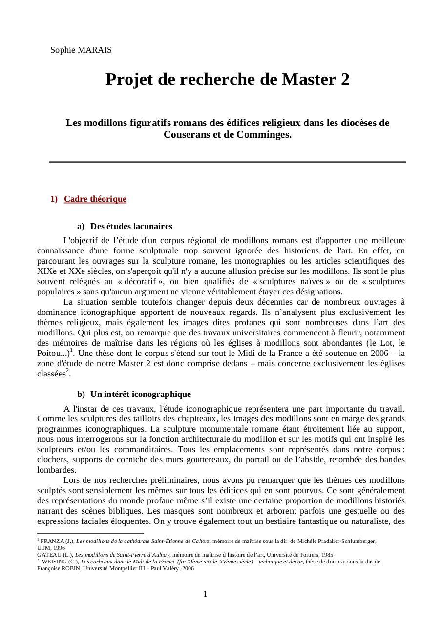 PROJET DE RECHERCHE MASTER 2.doc par Thibaut - PROJET DE ...