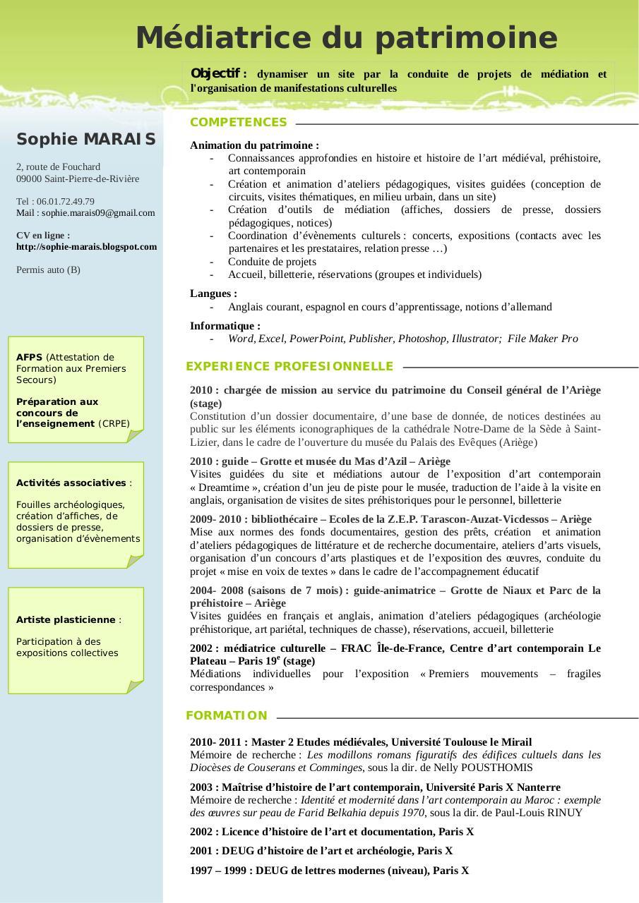 cv 2010 m u00e9diatrice rtf par thibaut - cv pdf