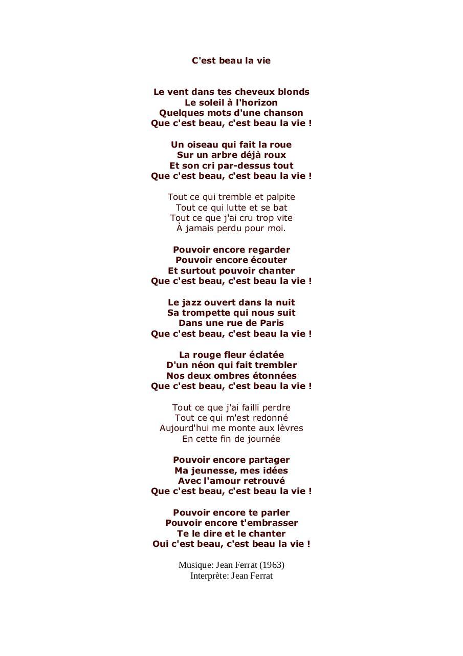 c est beau la vie lyrics