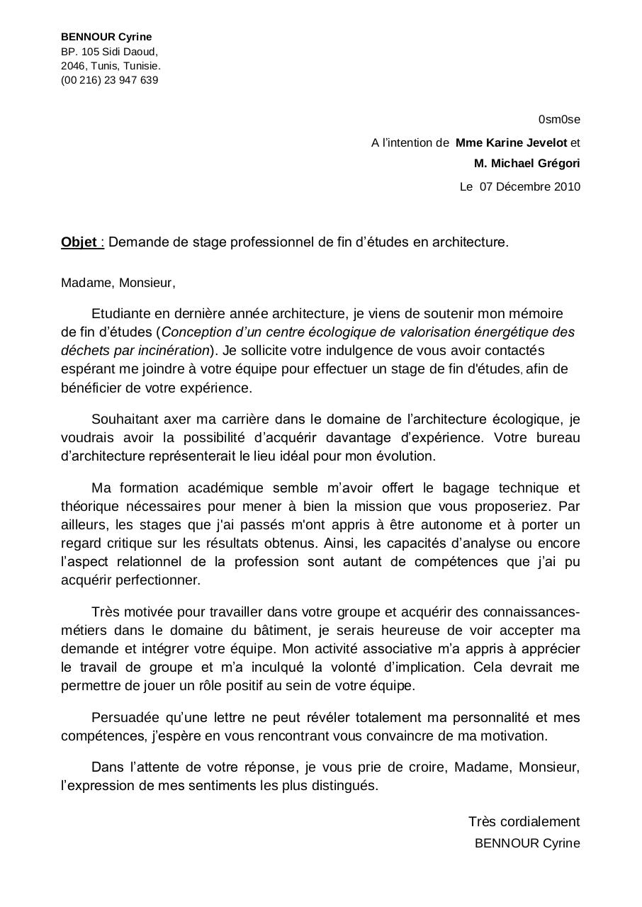 lettre de motivation ecologie