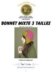 bonnet mixte 3 tailles