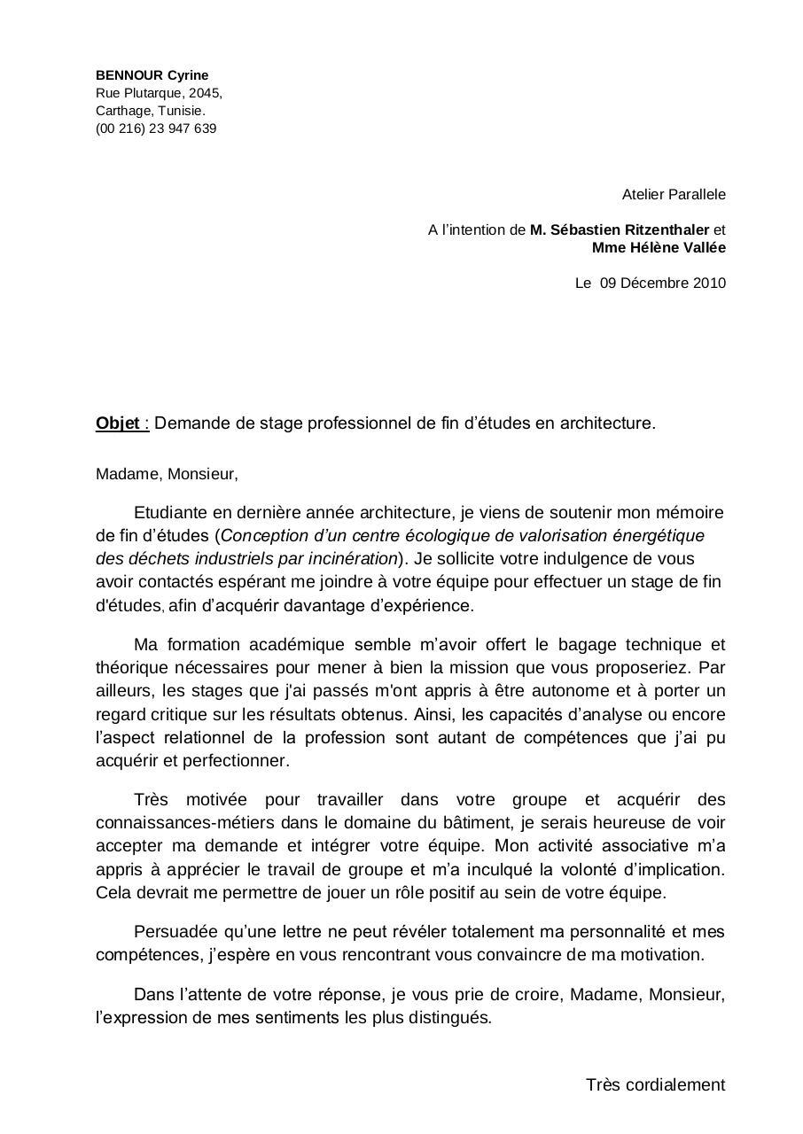 Job Application Letter Lettre De Motivation Ecologie