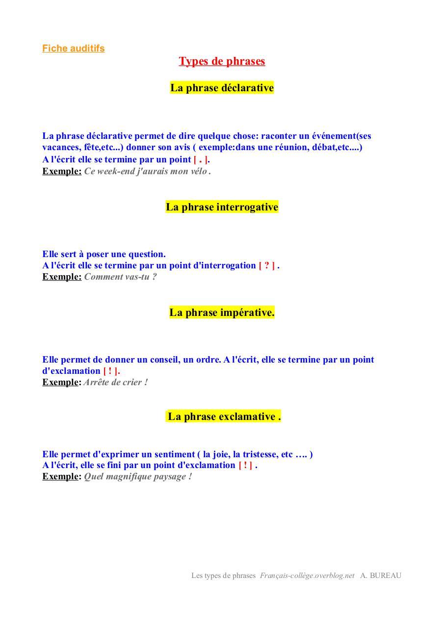 Types de phrases auditifs par Antoine BUREAU - Fichier PDF