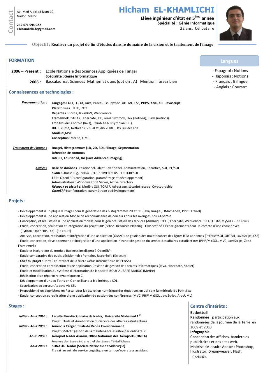 resume format  mod u00e8le cv ing u00e9nieur informatique