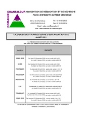 calendrier vacances scolaires enfants 2011