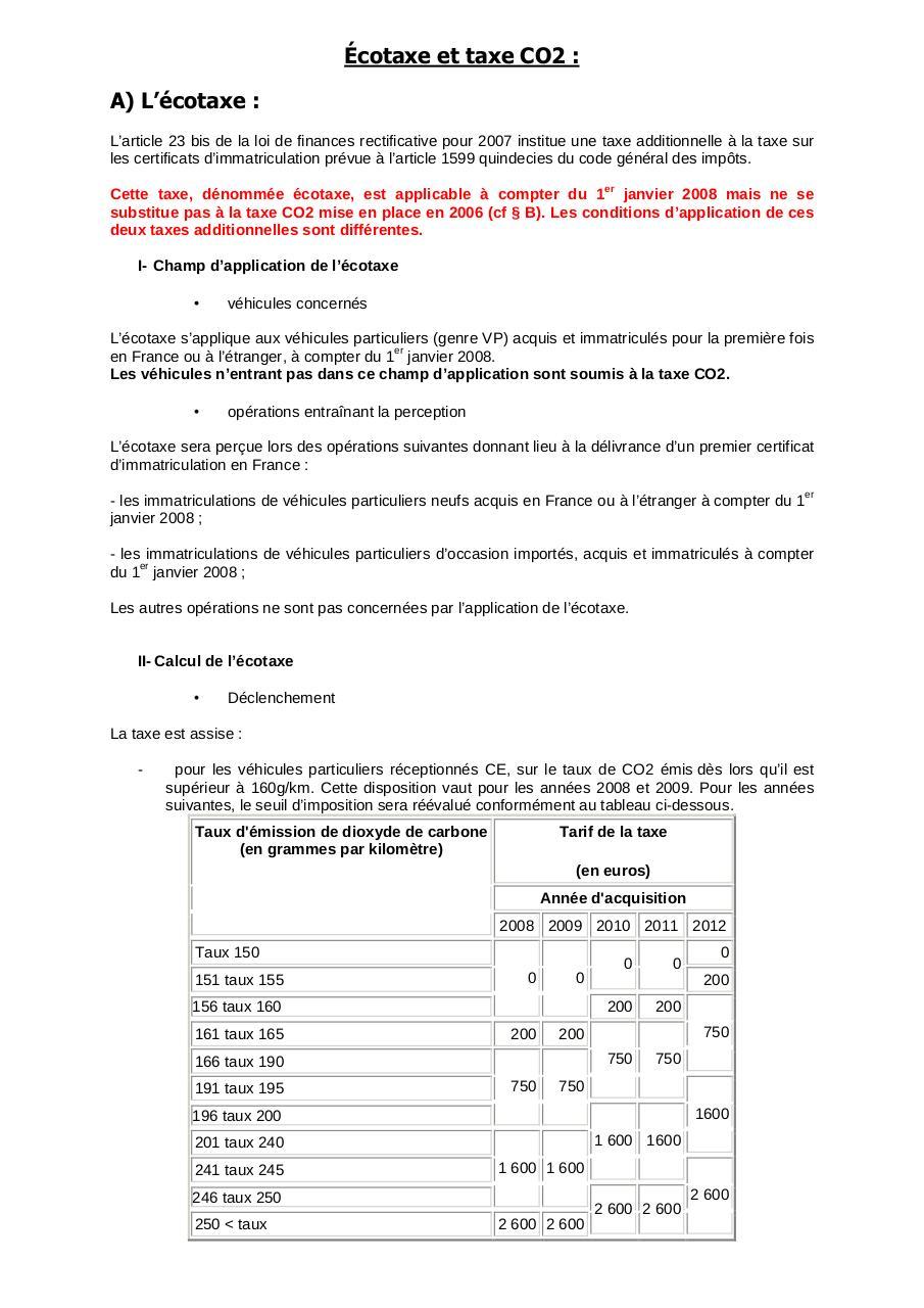 cotaxe et taxe co2 par cjean taxe co2 pdf fichier pdf. Black Bedroom Furniture Sets. Home Design Ideas