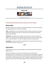 Fichier PDF analyse de forum