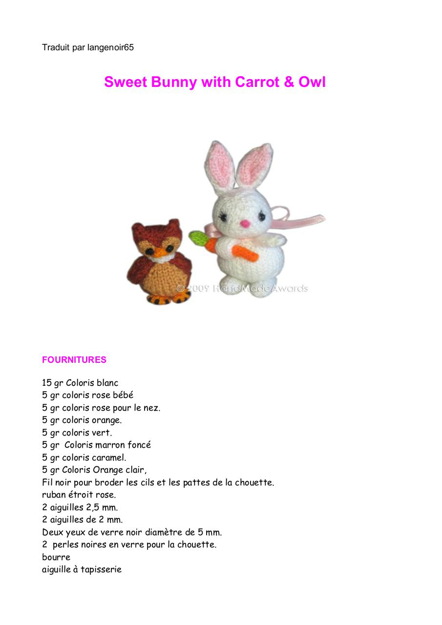 Aperçu du document traduc Sweet Bunny With Carott & Owl.pdf - page 1/10