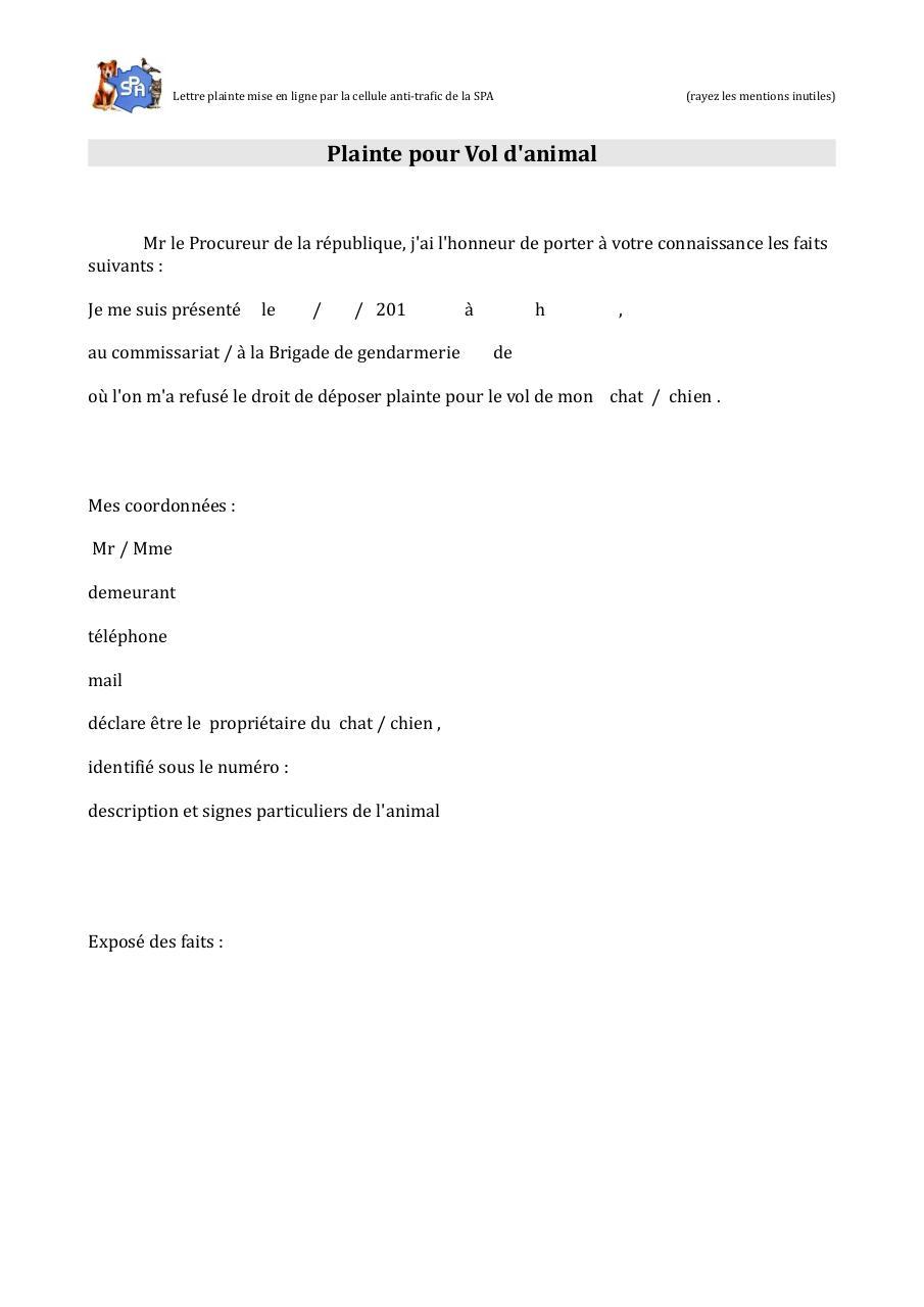 Lettre plainte vol pdf par julien soubiron fichier pdf - Porter plainte par courrier ...