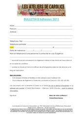 fiche d adhesion 2011