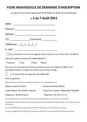 fiche d inscription 2011