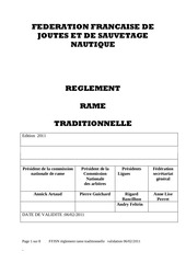 reglement rame traditionnelle 2011