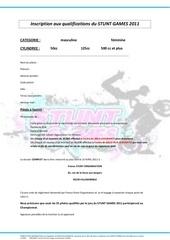 inscription qualif stunt games 2011