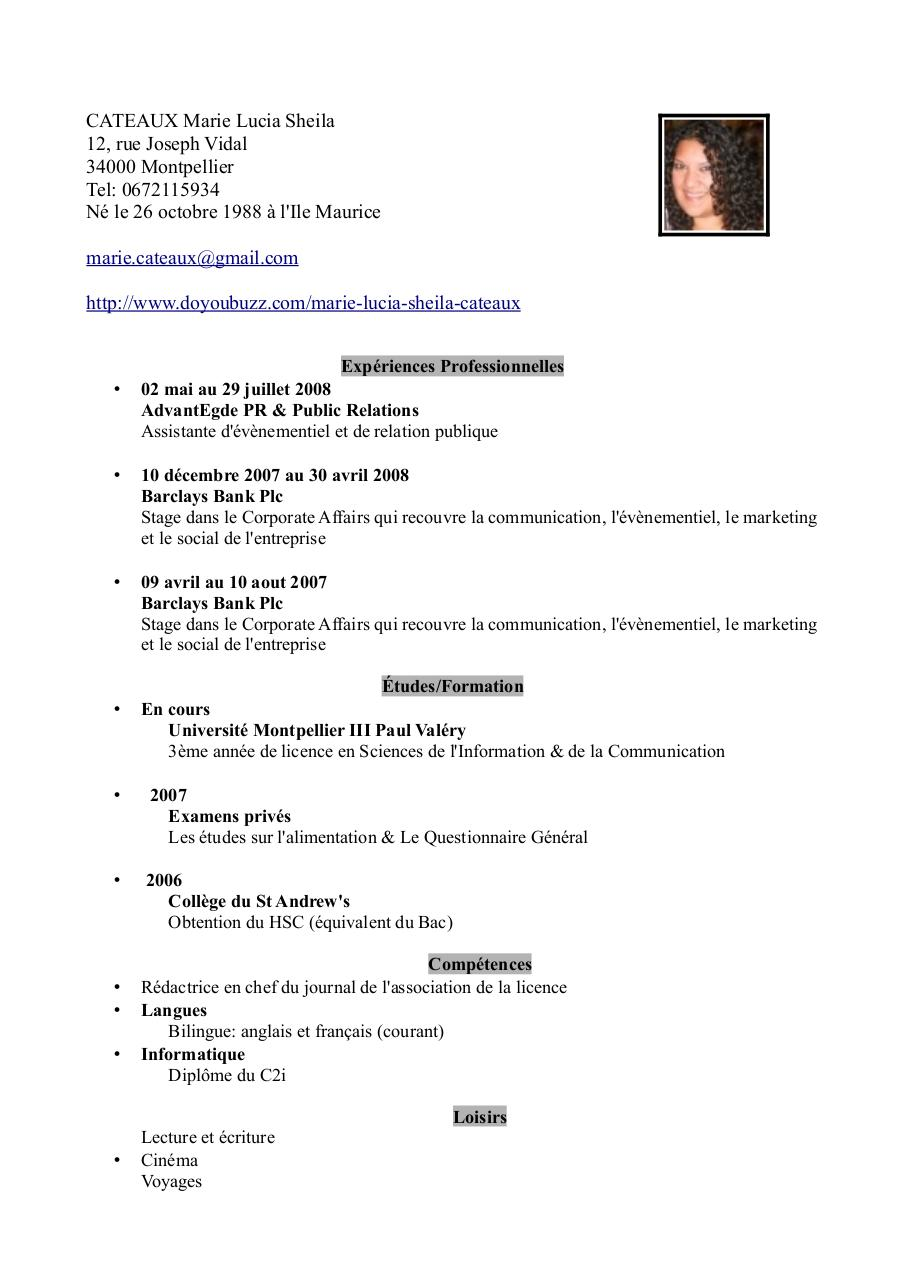 cv pdf par sheila cateaux