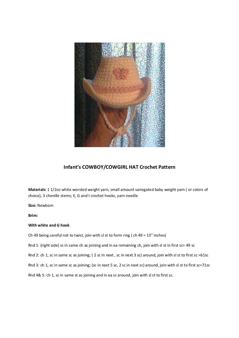Aperçu du document Infant's COWBOY COWGIRL Hat crochet.pdf - page 1/4
