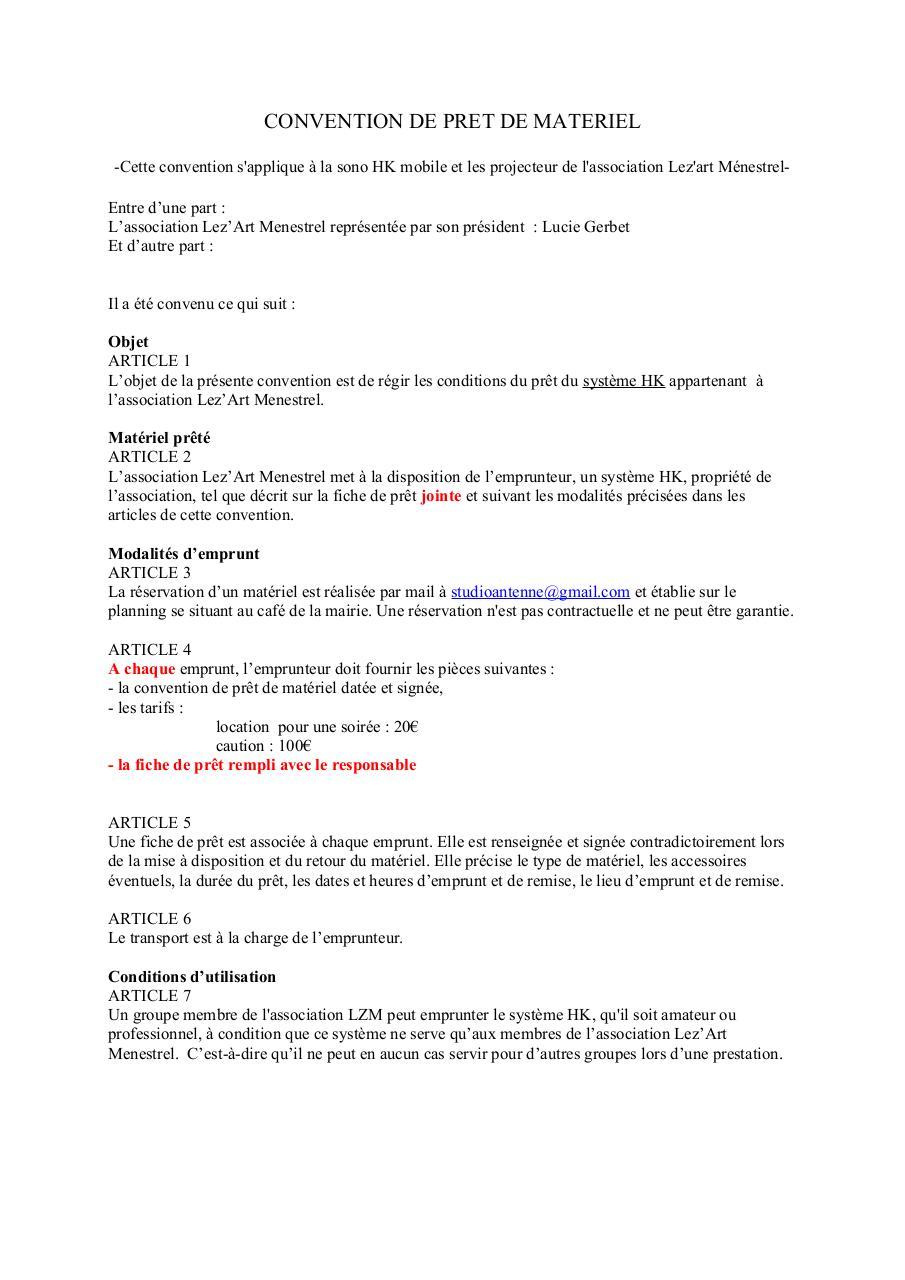 Convention de pret de par mr judic fichier pdf for Pret de materiel entre particulier