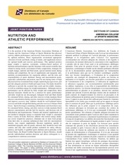 nutrition athletic performance en 2009