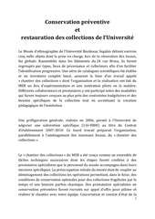 conservation preventive et restauration des collections