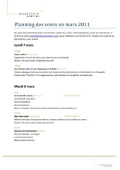 Fichier PDF planning des cours de mars