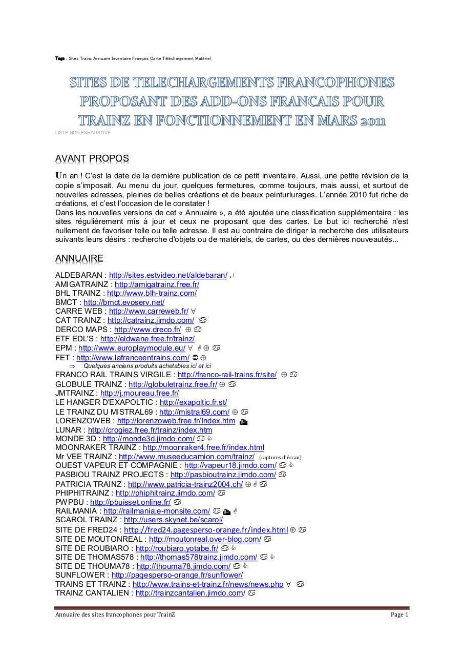 Annuaire Trainz - Fichier PDF