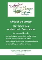 dossier de presse ouverture ateliers de cosmetiques bio a paris