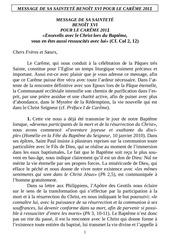 message du pape pour careme 2011 lect