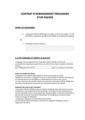 contrat d hebergement provisoire modifie le 05 01 11