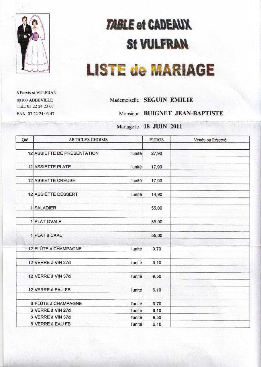 liste mariage fichier pdf. Black Bedroom Furniture Sets. Home Design Ideas